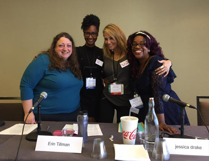 CastalystCon 2018 picture of discussion panel speakers Cathy Vartuli, Erin Tillman, Jessica Drake, Robin Wilson-Beatie
