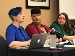 ConvergeCon 2018 discussion panel speakers Dr. Liz Powell, Dirty Lola, and Cathy Vartuli